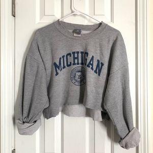 Vintage Michigan Oversized Cropped Sweater - (EUC)